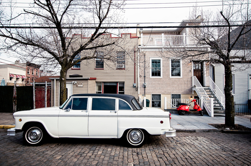 White old car parked on Conover Street in Red Hook, Brooklyn