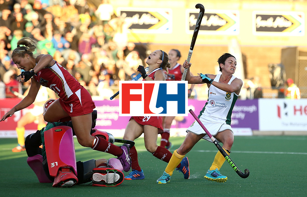 JOHANNESBURG, SOUTH AFRICA - JULY 16:  Candice Manuel of South Africa turns to celebrates the winning goal  during day 5 of the FIH Hockey World League Women's Semi Finals Pool B match between South Africa and United States of America at Wits University on July 16, 2017 in Johannesburg, South Africa.  (Photo by Jan Kruger/Getty Images for FIH)
