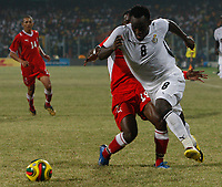 Photo: Steve Bond/Richard Lane Photography.<br />Ghana v Namibia. Africa Cup of Nations. 24/01/2008. Michael Essien (R) is checked by Lazarus Kaimbi ((L)