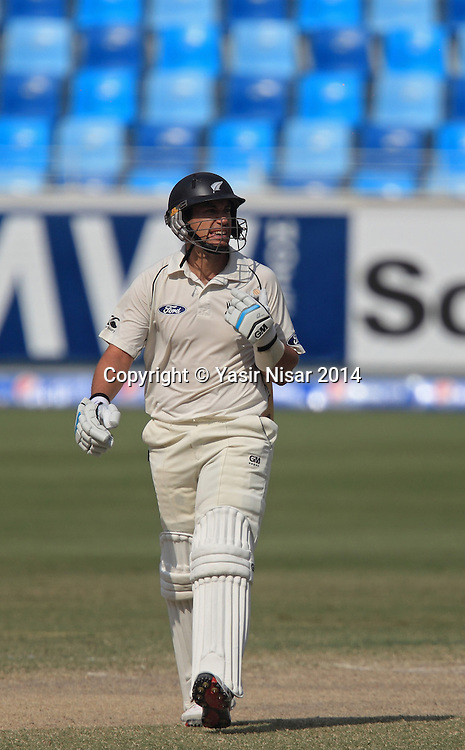 Pakistan vs New Zealand, 21 November 2014 <br /> Ross Taylor walks towards pavilion after his dismissal on the fifth day of second test in Dubai