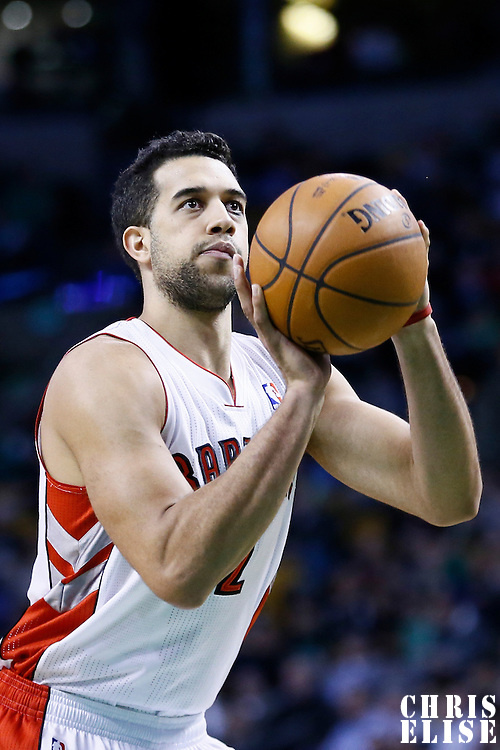 13 March 2013: Toronto Raptors small forward Landry Fields (2) is seen at the free throw line during the Boston Celtics 112-88 victory over the Toronto Raptors at the TD Garden, Boston, Massachusetts, USA.