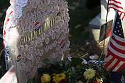 """Voters visit the gravesite of Susan B. Anthony, the social reformer who played a key part in the movement for women's suffrage, at Mount Hope Cemetery in Rochester on Tuesday, November 8, 2016. Many placed their """"I Voted"""" stickers on Anthony's headstone."""