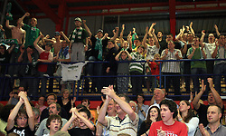 Celebration of Union Olimpija`s fans after fourth (last) final match of UPC Telemach league and Slovenian  National Championship  between KK Helios Domzale, Domzale and Union Olimpija, Ljubljana, Slovenia, on June 7, 2008, in Komunalni center hall in Domzale. Match was won by Union Olimpija 84:60 and Olimpija became National Champion 2007/2008 fourteen times in history of Slovenia. (Photo by Vid Ponikvar / Sportal Images)