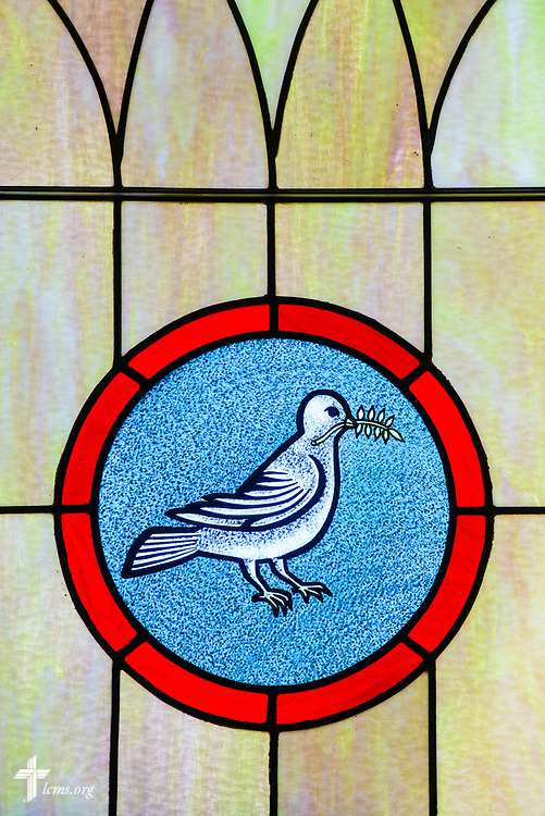Stained glass depicting peace at Zion Evangelical Lutheran Church, Lu Verne, Iowa, on Sunday, July 9, 2017. LCMS Communications/Erik M. Lunsford