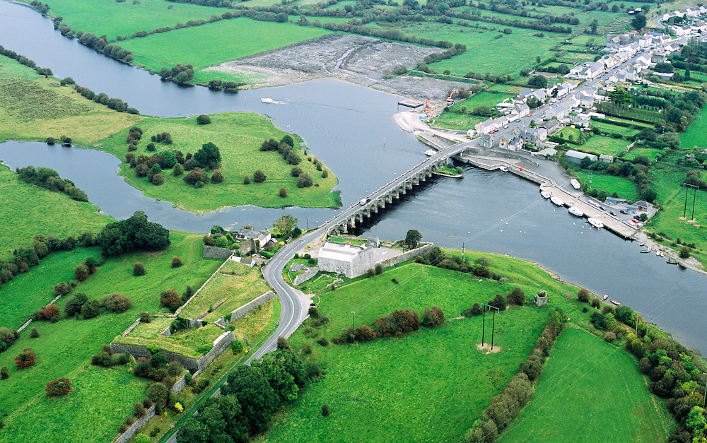 Excellent example of tete de pont military bridgehead defence. Village of Shannonbridge on River Shannon, County Offaly, Ireland