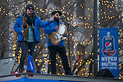 """Pre-show entertainment on Gibbs Street before the """"Hyped for Halftime"""" Concert in Rochester on Sunday, January 18, 2015."""