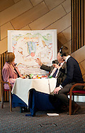 Great Tapestry of Scotland project. First Stitch at the Scottish Parliament building at Holyrood with the presiding officer Tricia Marwick..pic Alex Hewitt.alex.hewitt@gmail.com.07789 871540