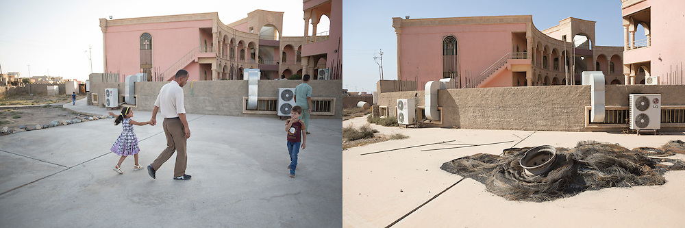 © Licensed to London News Pictures.  Before and after pictures showing life before ISIS occupation of Hamdaniyah in Iraq, and life after liberation from ISIS. PICTURED - Raíid Kamal (C) and one of his nieces walk through the Christian academy before occupation by ISIS (left) and the same scene after liberation from ISIS (right).  Hamdaniyah, and much of the Nineveh plains, were captured by the Islamic State during a large offensive on the 7th of August 2014 that saw the extremists advance to within 20km of the Iraqi Kurdish capital Erbil. Residents of the town  included many Christian refugees who escaped there after the fall of Mosul.  Photo credit: Matt Cetti-Roberts/LNP