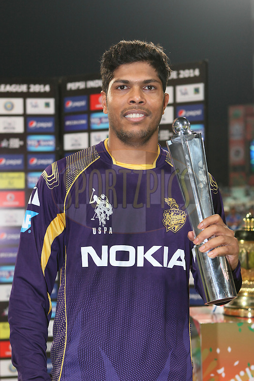 dKKR player Umesh Yadav got the man of the match award uring the first qualifier match (QF1) of the Pepsi Indian Premier League Season 2014 between the Kings XI Punjab and the Kolkata Knight Riders held at the Eden Gardens Cricket Stadium, Kolkata, India on the 28th May  2014<br /> <br /> Photo by Saikat Das / IPL / SPORTZPICS<br /> <br /> <br /> <br /> Image use subject to terms and conditions which can be found here:  http://sportzpics.photoshelter.com/gallery/Pepsi-IPL-Image-terms-and-conditions/G00004VW1IVJ.gB0/C0000TScjhBM6ikg