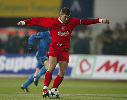 SOFIA, BULGARIA - Wednesday, March 3, 2004: Liverpool's Steven Gerrard on his way to scoring against Levski Sofia during the UEFA Cup 4th Round 2nd Leg match at the Vasil Levski Stadium. (Pic by David Rawcliffe/Propaganda)