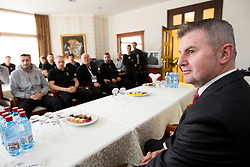 Franc But, Ambassador Extraordinary at Embassy of the Republic of Slovenia in Serbia at visit of Slovenia Men Handball team during 3rd day of 10th EHF European Handball Championship Serbia 2012, on January 17, 2012 in Hotel Srbija, Vrsac, Serbia.  (Photo By Vid Ponikvar / Sportida.com)