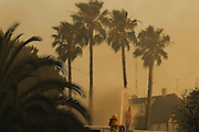 San Marcos, California, U.S. - <br /> <br /> California Wildfires 2014 - Cocos Fire<br /> <br />  A firefighters uses a water canon to extinguish trees and save a home from the Cocos fire near Cal State San Marcos on Wednesday, May 14, 2014 in San Diego County, Calif. The fire in San Marcos burned out of control Wednesday, destroying houses and forcing nearby residents from their homes. The fire burned at least three homes and one structure near Cal State San Marcos. <br /> ©Exclusivepix