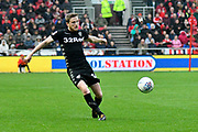 Eunan O'Kane (14) of Leeds United crosses the ball during the EFL Sky Bet Championship match between Bristol City and Leeds United at Ashton Gate, Bristol, England on 21 October 2017. Photo by Graham Hunt.