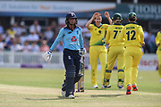 Danielle Wyatt of England (28) is out caught behind by Alyssa Healy of Australia (77) during the Royal London Women's One Day International match between England Women Cricket and Australia at the Fischer County Ground, Grace Road, Leicester, United Kingdom on 4 July 2019.