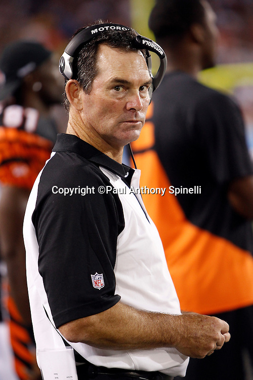 Cincinnati Bengals Defensive Coordinator Mike Zimmer looks on during the NFL Pro Football Hall of Fame preseason football game between the Dallas Cowboys and the Cincinnati Bengals on Sunday, August 8, 2010 in Canton, Ohio. The Cowboys won the game 16-7. (©Paul Anthony Spinelli)