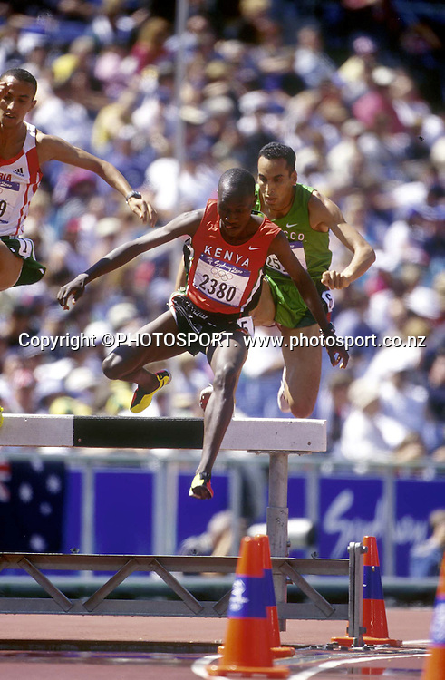 Wilson Kipketer of Kenya in action during the Mens 3000m steeple chase at the Sydney Olympic Games, on September 27 2000. Photo: PHOTOSPORT<br /><br /><br />steeplechase track and field jump hurdle athletics