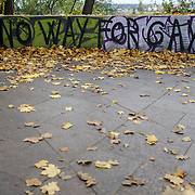 """No way for gay"" is seen along a path on the edge of Letná Park in Prague, Czech Republic on 10 November 2014."