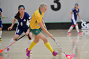 Australia&rsquo;s Blaise Hodges in action during the World Floorball Championships 2017 Qualification for Asia Oceania Region Final - Australia v Japan at ASB Sports Centre , Wellington, New Zealand on Sunday 5 February 2017.<br /> Photo by Masanori Udagawa<br /> www.photowellington.photoshelter.com.