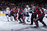 KELOWNA, CANADA - MARCH 10: Luc Smith #24 of the Kamloops Blazers looks for the puck after the face off against Kyle Topping #24 of the Kelowna Rockets  on March 10, 2018 at Prospera Place in Kelowna, British Columbia, Canada.  (Photo by Marissa Baecker/Shoot the Breeze)  *** Local Caption ***