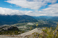 Paul McSorley taking a break between shots during an April shoot for Arc'teryx in Squamish.