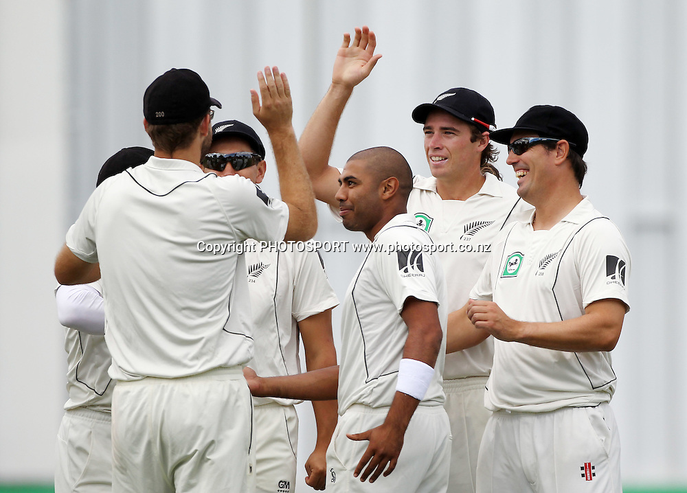 New Zealand players celebrate the run out of Ricky Ponting after a direct hit from Daniel Vettori.<br />
