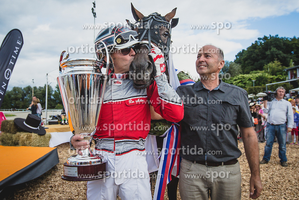 Zan Milan winner of prestige 25th Slovenian derby during harness racing competition Kasaski derby 2015 at hippodrome Stozice on 8. September 2015 in , Ljubljana, Slovenia. Photo by Grega Valancic / Sportida