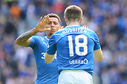 Goal scorers James Tavernier and Jordan Rossiter celebrate during the Ladbrokes Scottish Premiership match between Hibernian and Rangers at Easter Road, Edinburgh, Scotland on 13 May 2018. Picture by Kevin Murray.