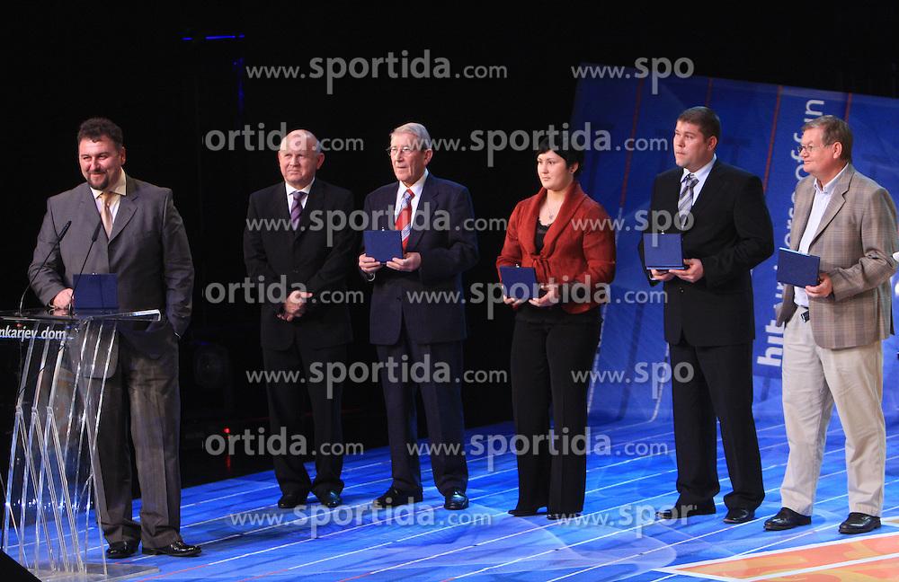 Vladimir Kevo, Janez Kocijancic, Lojze Mikolic, Lucija Polavder, Miha Potocnik and Trevor Millar at  Slovenian sportsman of the year 2008 ceremony, on December 22, 2008, in Cankarjev dom, Ljubljana, Slovenia. (Photo by Vid Ponikvar / SportIda).