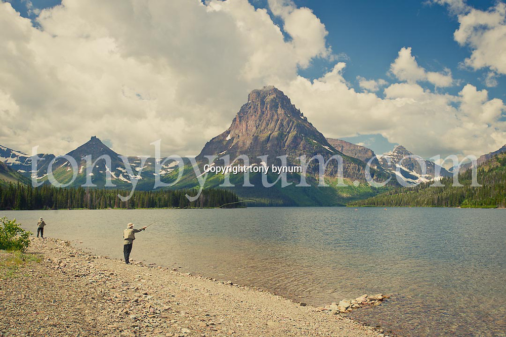 two people fly fishing two medicine lake