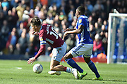 Aston Villa midfielder Jack Grealish (10) is fouled by Birmingham City defender Wes Harding (45) during the EFL Sky Bet Championship match between Birmingham City and Aston Villa at St Andrews, Birmingham, England on 10 March 2019.