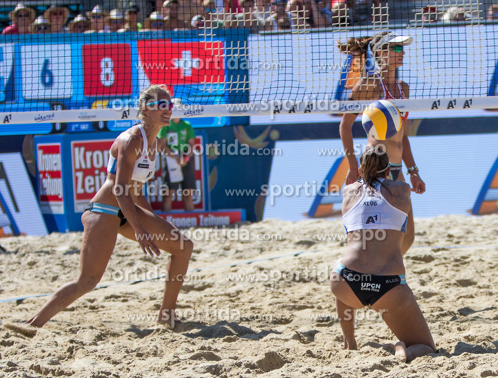 30.07.2016, Strandbad, Klagenfurt, AUT, FIVB World Tour, Beachvolleyball Major Series, Klagenfurt, Herren, im Bild Joana Heidrich (2, SUI) hinten, Ana Gallay (1, ARG), Georgina Klug (2, ARG) vorne // during the FIVB World Tour Major Series Tournament at the Strandbad in Klagenfurt, Austria on 2016/07/30. EXPA Pictures © 2016, PhotoCredit: EXPA/ Lisa Steinthaler