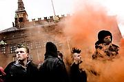 Demonstration i forbindelse med etårsdagen for rydningen af Ungdomshuset på Jagtvej. De unge havde endnu ikke fået et nyt tilholdssted i København