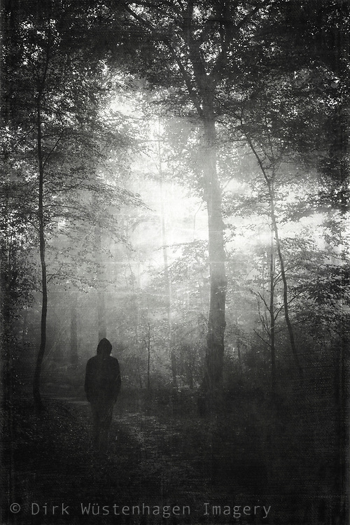 man in misty wet forest
