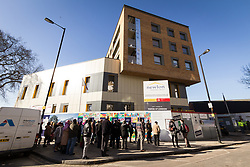 Council tenants from nearby Love Lane Estate visit nearly completed Newlon Housing Trust flats at the Cannon Road housing scheme, Tottenham, London Borough of Haringey
