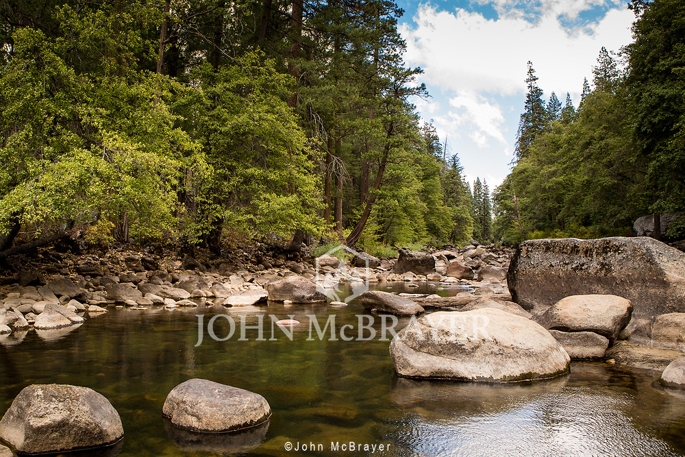 A view down the Merced River in Yosemite. in late summer  © John McBrayer