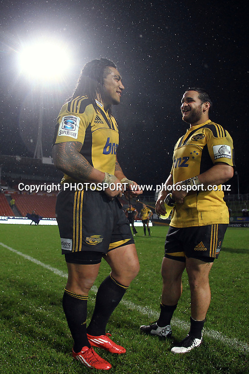 Hurricanes' Ma'a Nonu and Piri Weepu. Super 15 rugby union match, Chiefs v Hurricanes at Waikato Stadium, Hamilton, New Zealand. Friday 10th June 2011. Photo: photosport.co.nz