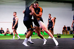 Luke Scully and Ollie Lawrence of Worcester Warriors during preseason training ahead of the 2019/20 Gallagher Premiership Rugby season - Mandatory by-line: Robbie Stephenson/JMP - 06/08/2019 - RUGBY - Sixways Stadium - Worcester, England - Worcester Warriors Preseason Training 2019