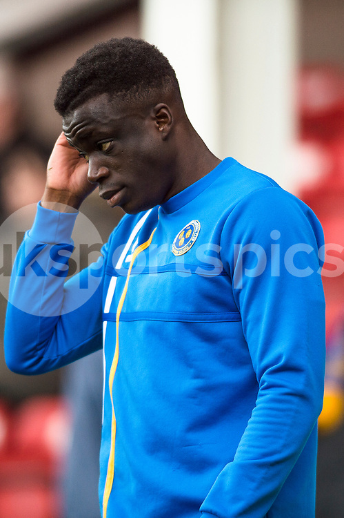 Arthur Gnahoua of Shrewsbury Town warms up ahead of during the EFL Sky Bet League 1 match between Walsall and Shrewsbury Town at the Banks's Stadium, Walsall, England on 7 October 2017. Photo by Darren Musgrove.