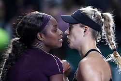 October 26, 2018 - Singapore - Sloane Stephens of the United States (left) is congratulated Angelique Kerber of Germany following her win during the match between Angelique Kerber and Sloane Stephens on day 6 of the WTA Finals at the Singapore Indoor Stadium. (Credit Image: © Paul Miller/ZUMA Wire)