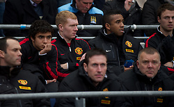 MANCHESTER, ENGLAND - Sunday, January 8, 2012: Manchester United's Paul Scholes sits on the bench as a substitute after emerging from retirement during the FA Cup 3rd Round match against Manchester City at the City of Manchester Stadium. (Pic by David Rawcliffe/Propaganda)