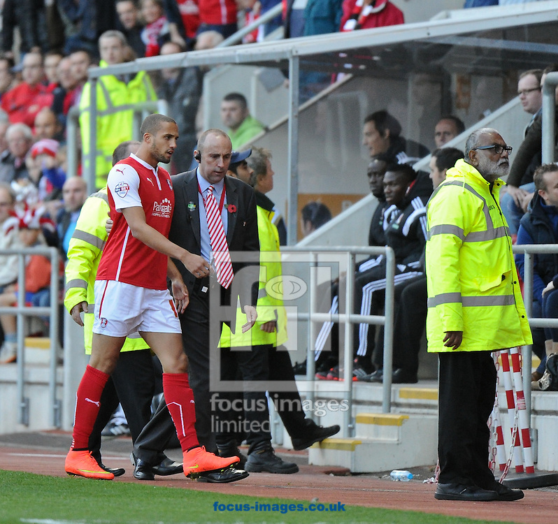 Jordan Bowery of Rotherham United is sent off during the Sky Bet Championship match at the New York Stadium, Rotherham<br /> Picture by Richard Land/Focus Images Ltd +44 7713 507003<br /> 01/11/2014