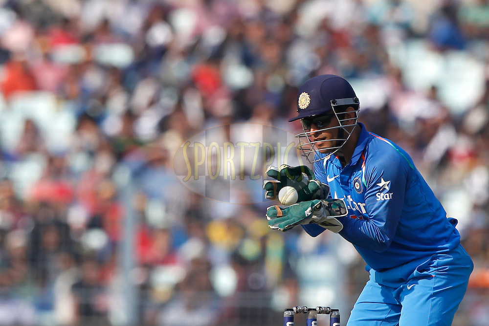 MS Dhoni of India during the third One Day International (ODI) between India and England  held at Eden Gardens in Kolkata on the 22nd January 2017<br /> <br /> Photo by: Deepak Malik/ BCCI/ SPORTZPICS