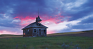 Montana. Winifred, abandoned single room schoolhouse in Great Plains