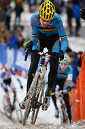 Belgium's Yannick Peeters (7) powers up a hill during the UCI Juniors Cyclocross World Championships held at Eva Bandman Park in Louisville, Kentucky, on February 2, 2013. Peeters finished 7th overall. © Dan Henry / BiciPhoto.com