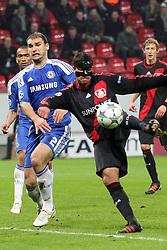 23.11.2011, BayArena, Leverkusen, Germany, UEFA CL, Gruppe E, Bayer 04 Leverkusen (GER) vs Chelsea FC (ENG), im Bild Riesen Chance für Michael Ballack (Leverkusen #13) gegen Branislav Ivanovic (Chelsea #2) // during the football match of UEFA Champions league, group E, between Bayer Leverkusen (GER) and FC Chelsea (ENG) at BayArena, Leverkusen, Germany on 2011/11/23.EXPA Pictures © 2011, PhotoCredit: EXPA/ nph/ Mueller..***** ATTENTION - OUT OF GER, CRO *****