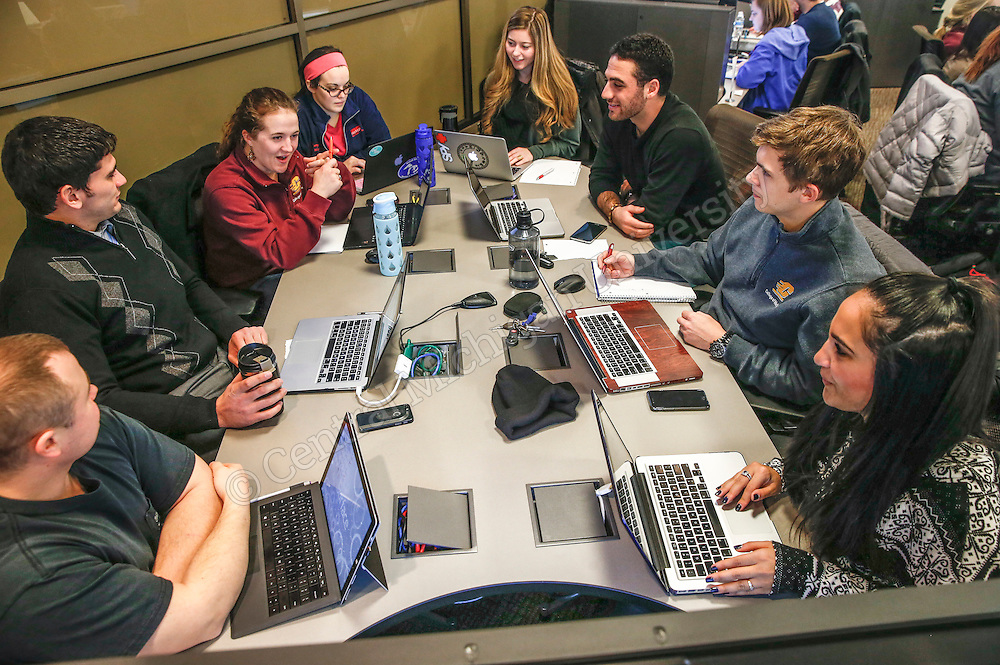 CMED- Friday group session and quiz in the applied learning classroom in the CMED Building. Photo by Steve Jessmore/Central Michigan University