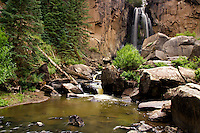 South Clear Creek Falls is located between Creed and Lake City in the mountains of Colorado