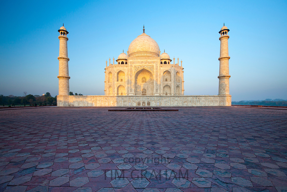 The Taj Mahal mausoleum eastern view in Agra, Uttar Pradesh, India