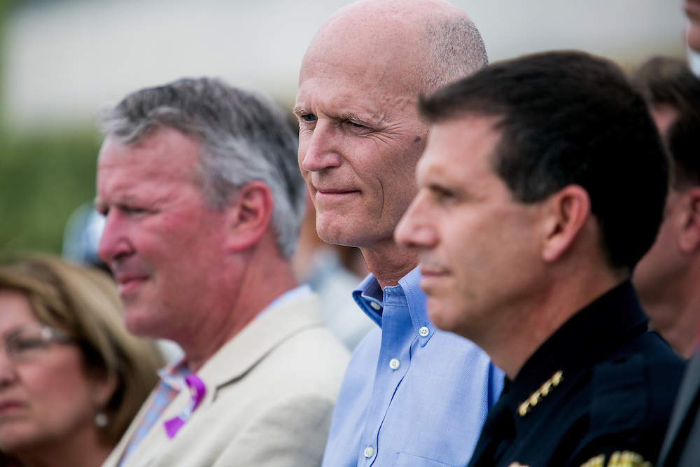 ORLANDO - JUNE 15, 2016: Orlando Mayor Buddy Dyer, Florida Governor Rick Scott and Police Chief John Mina at a press conference outside the Pulse nightclub in Orlando, Florida. CREDIT: Sam Hodgson for The New York Times.