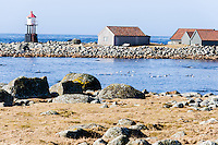 Norway, Rogaland, Hå. Coastal landscape with lighthouse.